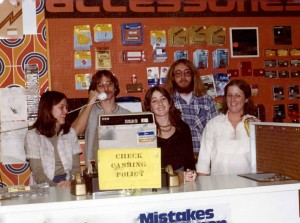 Daniel Buckley (back row, right) at Record Bar around 1975