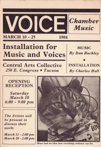 Invitation to Voice Chamber Music installation, mid-1980s collaboration with Artist Charles Hall