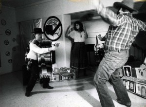 "Gunfight scene from ""West"" (Michael Anderson, left; Helen Williamson Thoenes, center; Bob Einweck, right)"
