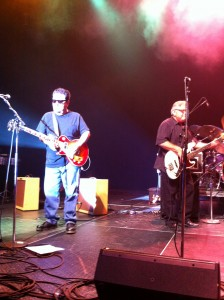 Los Lobos at the HP Pavilion; l-r Cesar Rosas, Conrad Lozano/Photo by Daniel Buckley