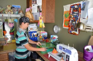 Alex Gray in his quilting room