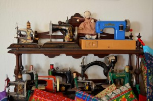 Jeffrey's miniature sewing machine collection.