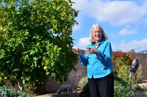 Amanda Jeffrey in her garden