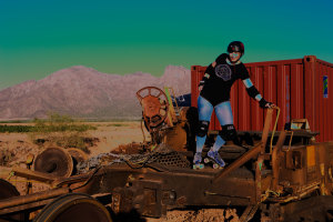 Roller derby queen Rowena Davis on train wreck