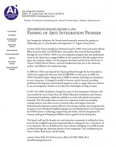 Press release from Arts Integration Solutions