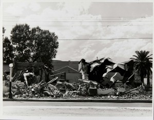 "Downtown Chicano neighborhoods destroyed as part of Tucson's ""Urban Renewal"" program of the 1960s."