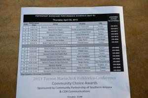 Participant showcase schedule