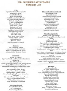 2014 Governor's Awards nominees