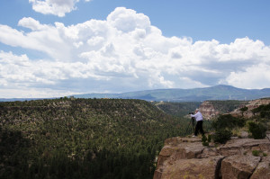 Buckley shooting panoramic photos in New Mexico.